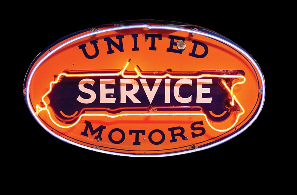 Extraordinary 1930s GM United Motors Service single-sided neon porcelain garage sign. - Front 3/4 - 91588