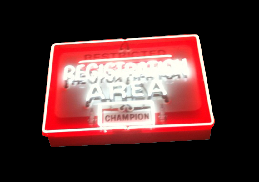 "Neat 1950s-60s Champion Spark Plugs Race Track ""Registration Area"" neon track sign. - Front 3/4 - 91590"