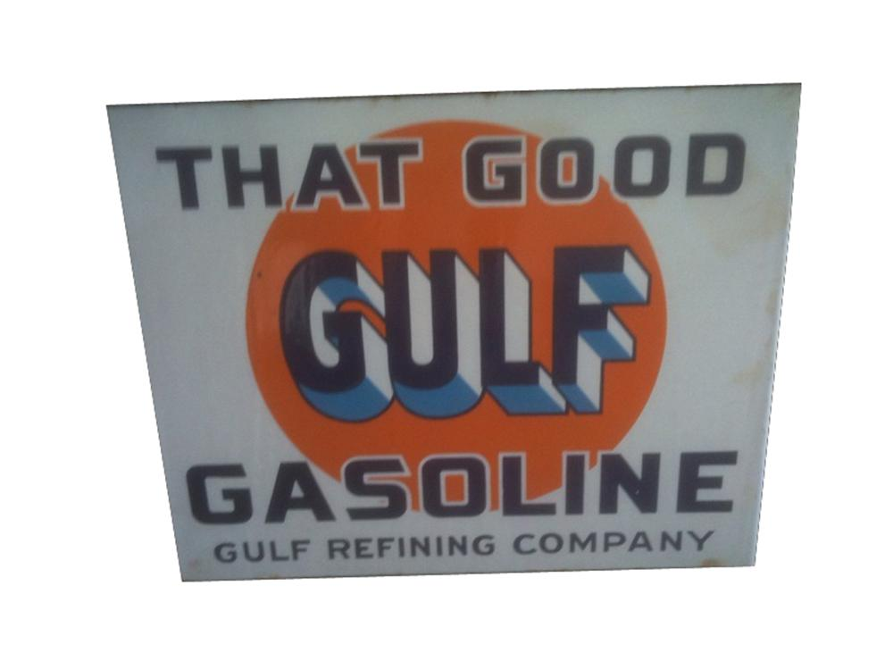 Hard to find 1930s Good Gulf Gasoline double-sided porcelain garage flange. - Front 3/4 - 91593