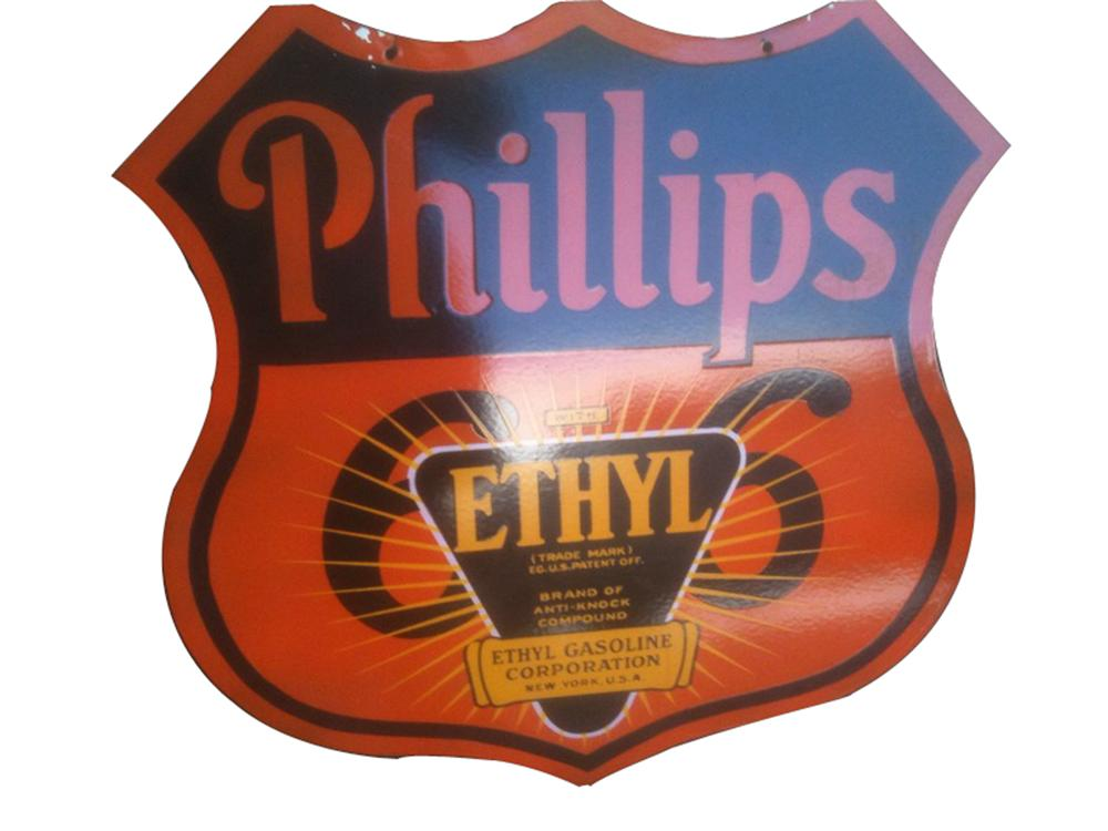 Extremely hard to find 1940s Phillips 66 with Ehtyl double-sided porcelain service station sign. - Front 3/4 - 91594