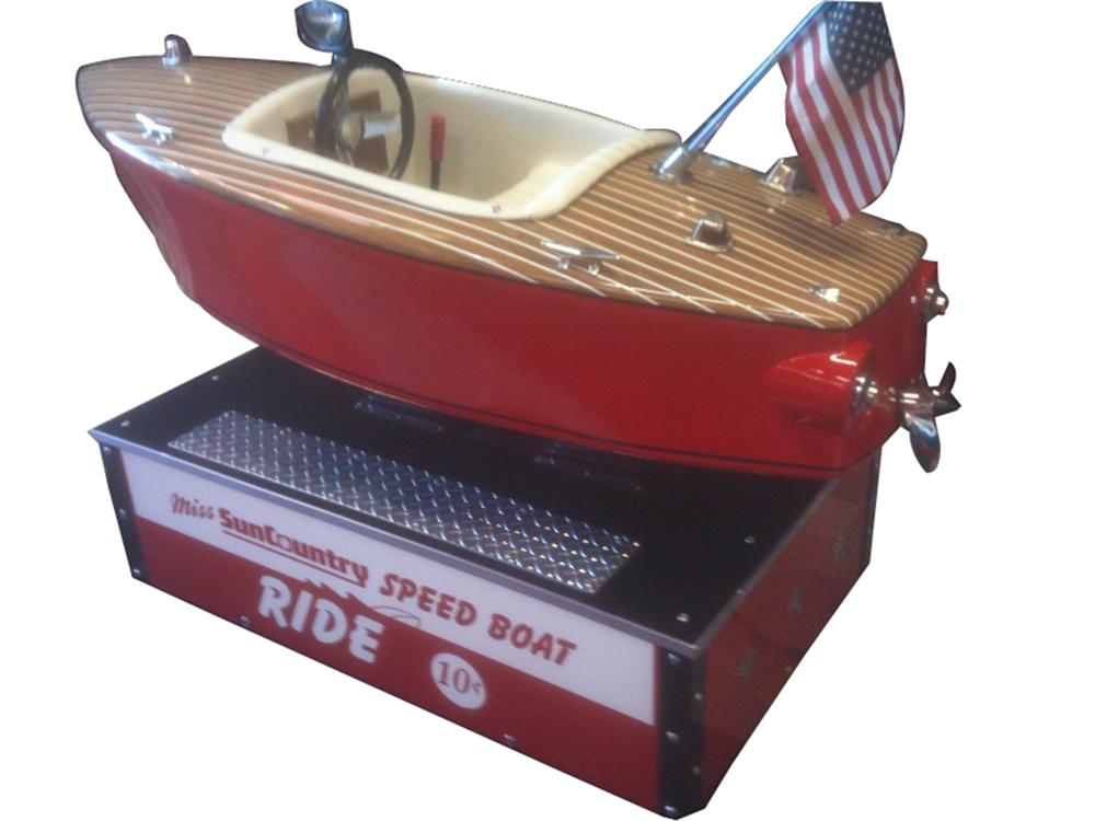 Noteworthy 1950s Miss Sun Country Speed Boat 10 cent coin-operated kiddie ride. - Front 3/4 - 91596