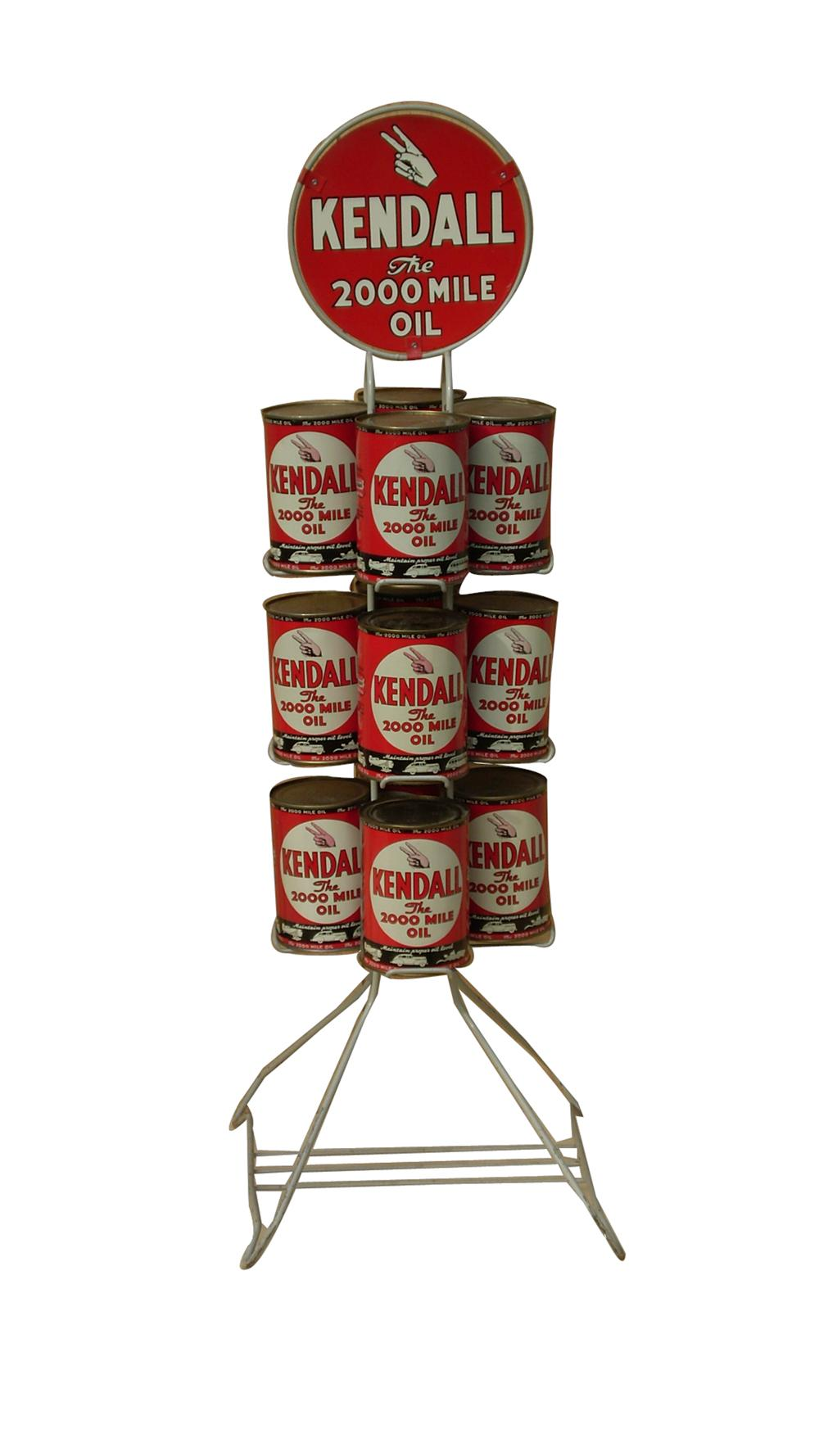 Fabulous 1930s Kendall Motor Oil double-sided tin garage display rack filled with original cans. - Front 3/4 - 91606
