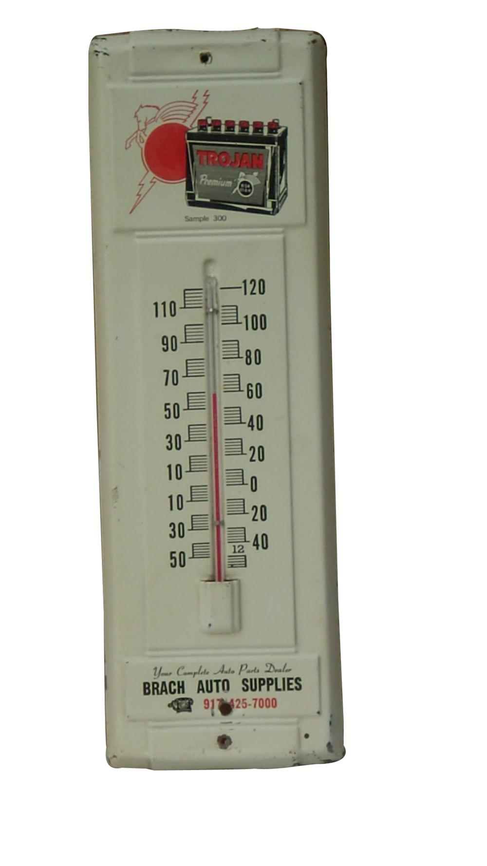 Choice 1950s Trojan Premium Batteries tin garage thermometer with battery graphic - Front 3/4 - 91607