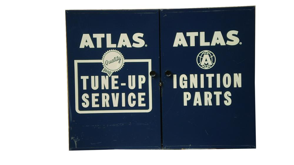 Sharp 1960s Atlas Tune-up Service and Ignition parts locking metal service department cabinet. - Front 3/4 - 91613