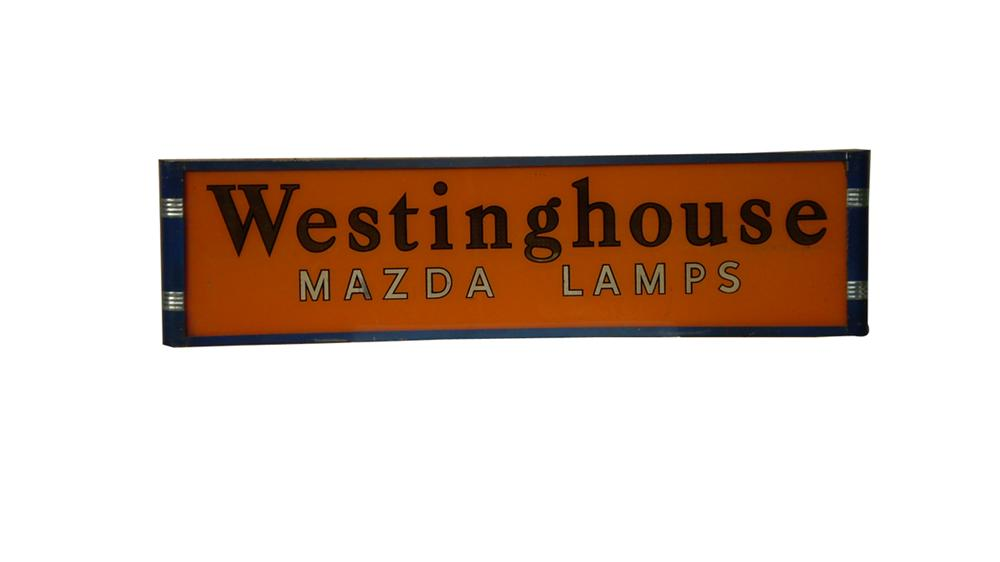 Scarce 1930s Westinghouse Mazda Auto Lamps hanging light-up glass faced sign. - Front 3/4 - 91614