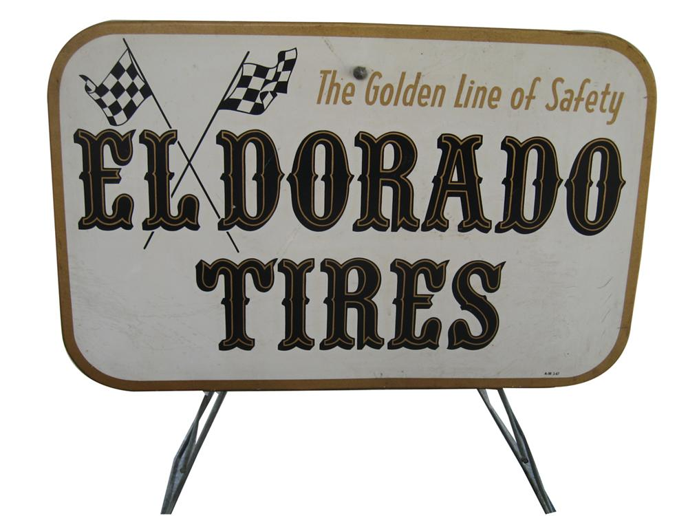 Large over-sized El Dorado Tires service garage metal tire display stand. - Front 3/4 - 91620