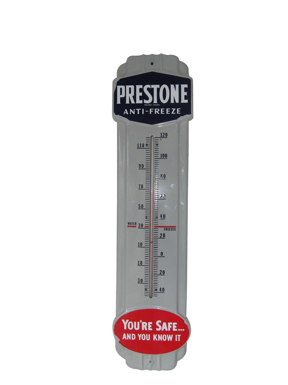 Very nice 1940s Prestone Anti-Freeze large porcelain garage thermometer. - Front 3/4 - 91624