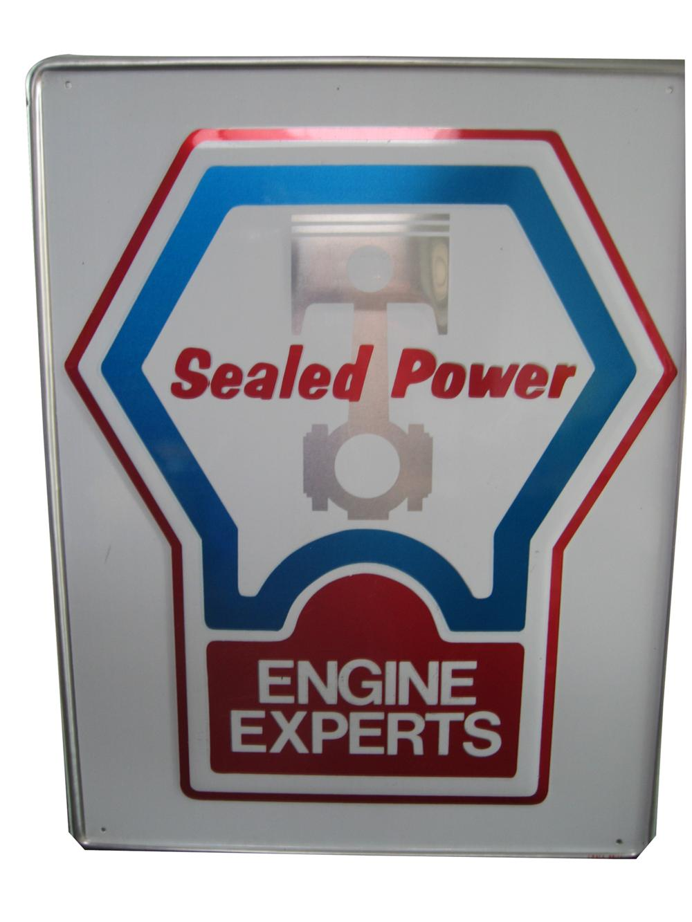 """N.O.S. Sealed Power Piston Rings """"Engine Experts"""" single-sided embossed tin garage sign. - Front 3/4 - 91626"""