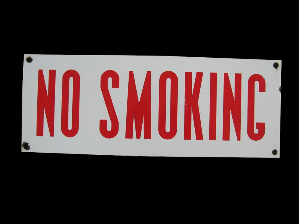 """1940s-50s Service Station """"No Smoking"""" fuel island porcelain sign. - Front 3/4 - 91627"""