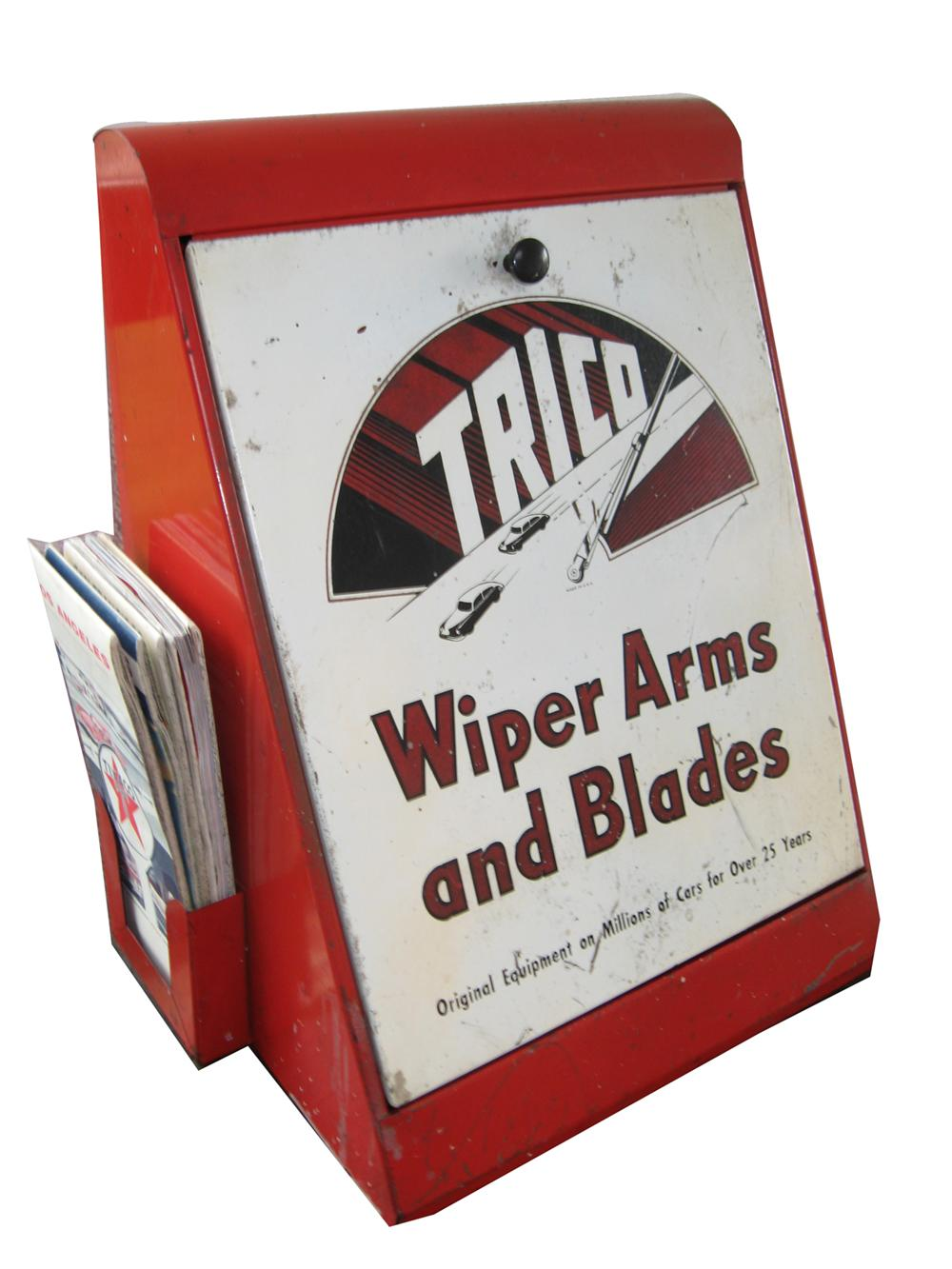Neat 1940s trico Wiper Arms and Blades service display cabinet with original period maps. - Front 3/4 - 91629