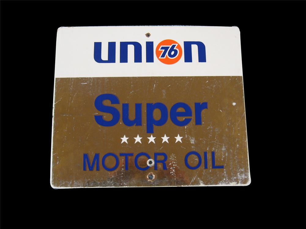 1960s Union 76 Super Motor Oil porcelain pump plate sign. - Front 3/4 - 91630