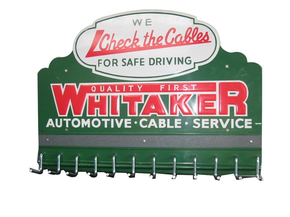 Very clean 1950s Whitaker Automotive Cable Service embossed service department display rack. - Front 3/4 - 91631