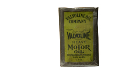 Rare early 1900s Valvoline Oil Company solder seamed five gallon tin can. - Front 3/4 - 91633