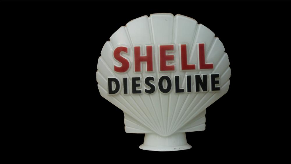 Super rare 1930s Shell Diesoline milk glass gas globe. Stamped British Petroleum. - Front 3/4 - 91634