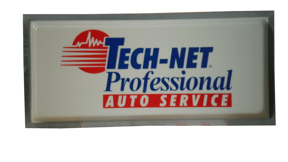 Terrific 1960s-70s Tech-Net Professional-Auto Service plastic light-up sign with metal frame. - Front 3/4 - 91636