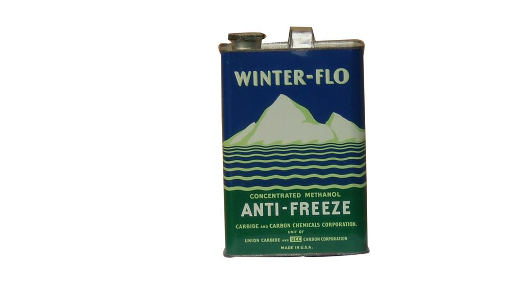 Choice 1930s Winter Flo Anti-Freeze one gallon Union Carbide tin can. - Front 3/4 - 91637