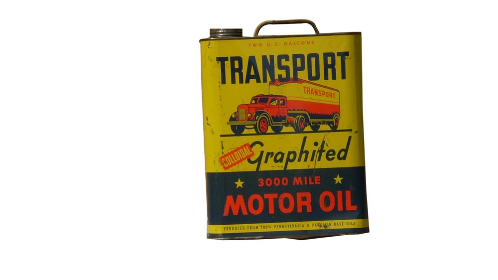 Outstanding 1950s Transport graphited Motor Oil two gallon metal can from Portland, Oregon. - Front 3/4 - 91639