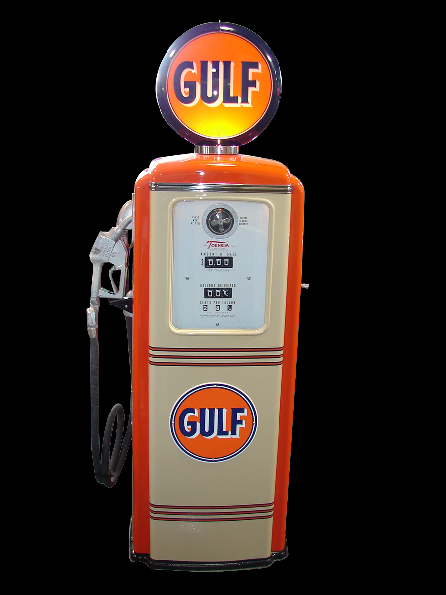 Professionally restored late 1940s-50s Gulf Oil Tokheim #39 service station gas pump. - Front 3/4 - 91657
