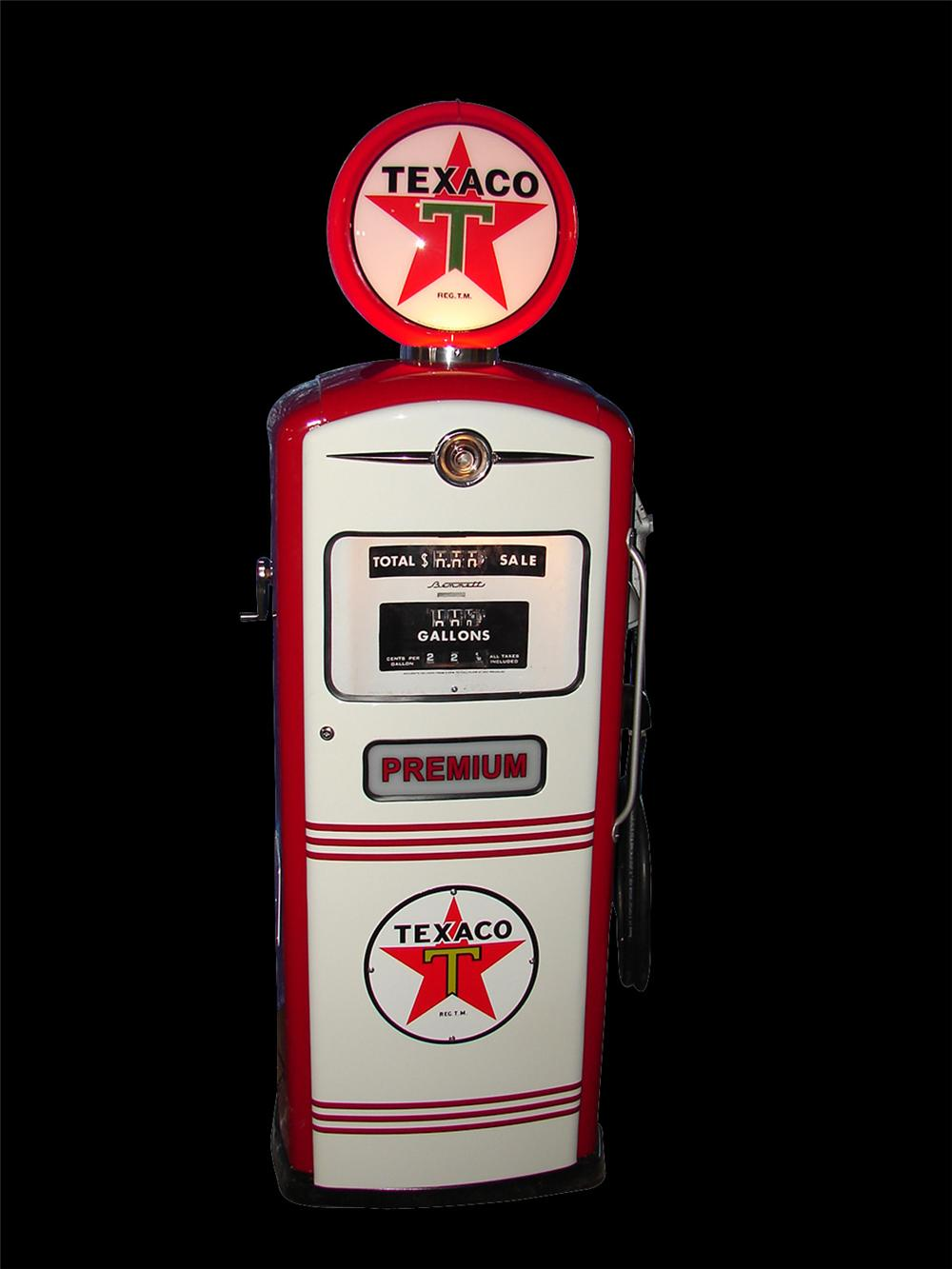 Stylish 1954 Bennett model #966 Texaco Service Station restored gas pump. - Front 3/4 - 91659