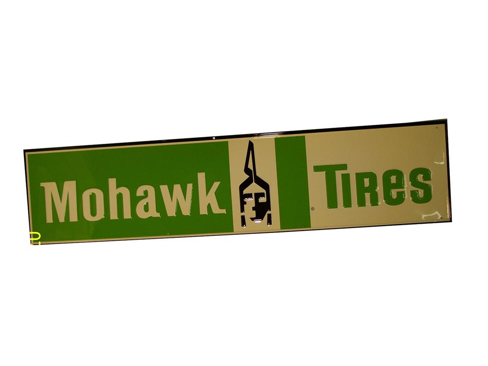 Uncommon N.O.S. 1960s Mohawk Tires horizontal tin garage sign with indian logo. - Front 3/4 - 91665