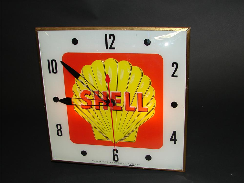 Sharp late 50s-early 60s Shell Gasoline light-up service station clock. - Front 3/4 - 92993