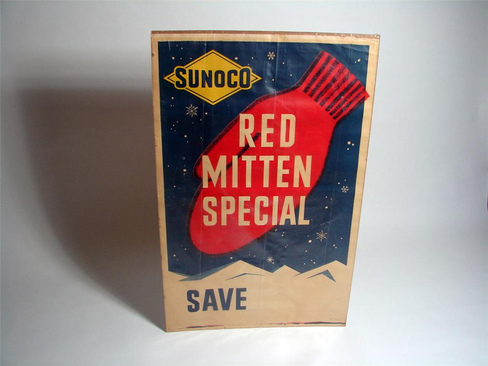 """1951 Sunoco """"Red Mitten Special"""" service station display poster. - Front 3/4 - 93713"""
