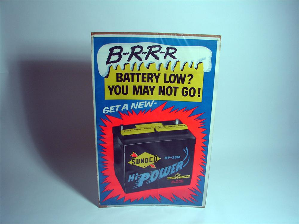 """1954 Sunoco """"Hi Power"""" Batteries service station display poster. - Front 3/4 - 93714"""