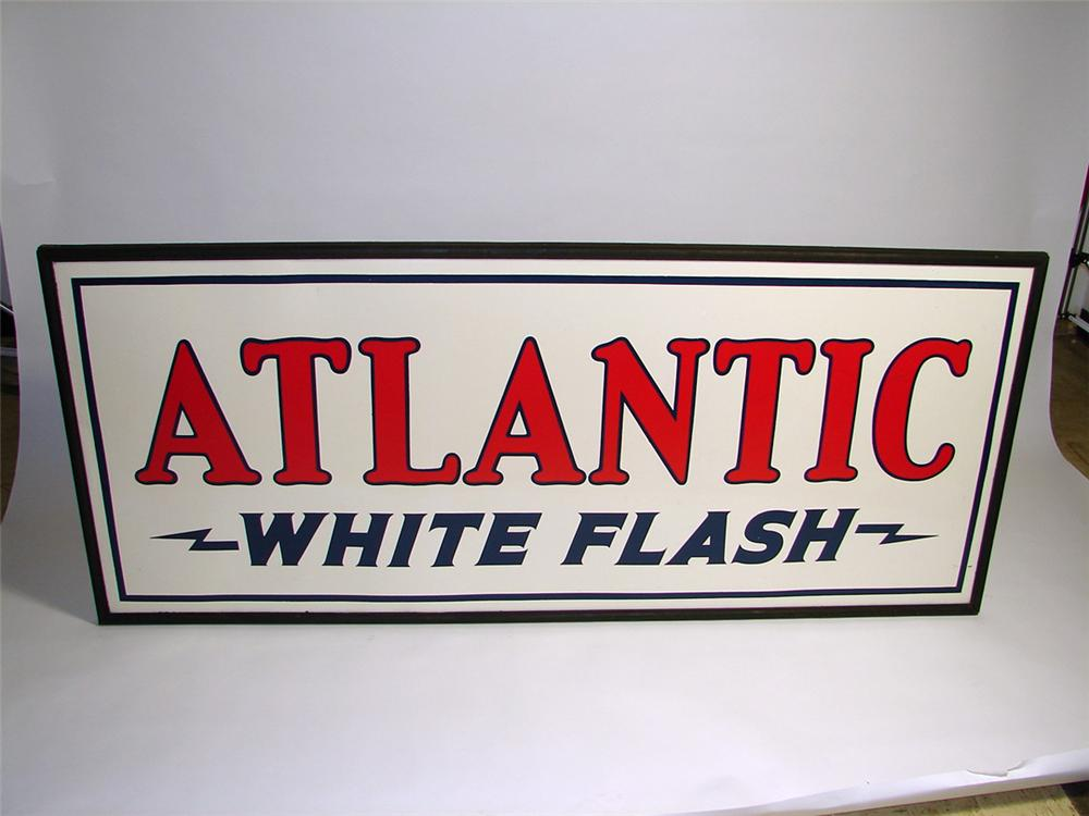 Extraordinary N.O.S. 1920s Atlantic White Flash Gasoline single-sided tin painted wood framed filling station sign. - Front 3/4 - 93715