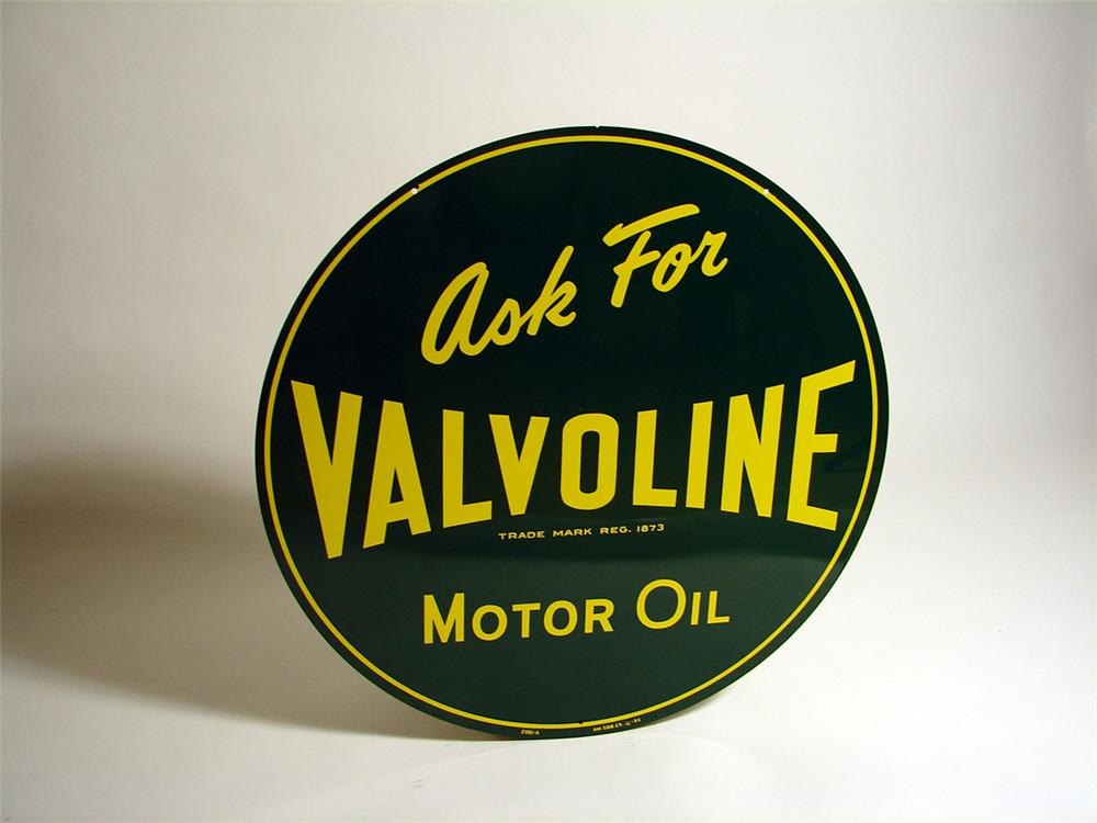 N.O.S. 1952 Valvoline Motor Oil double-sided tin garage sign. - Front 3/4 - 93716