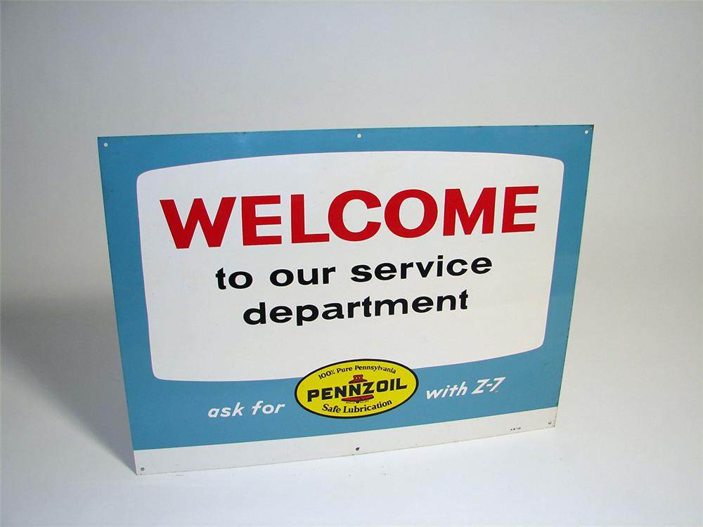 "N.O.S. 1960s Pennzoil ""Welcome to Our Service Department"" single-sided tin garage sign. - Front 3/4 - 93717"
