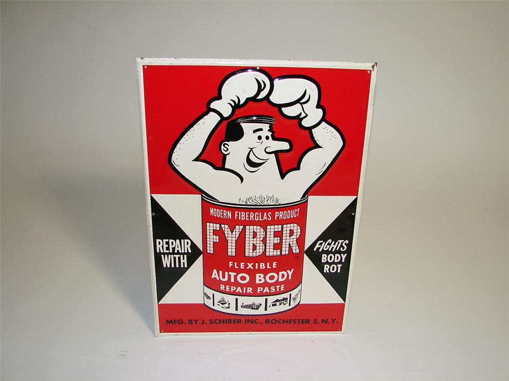 N.O.S. 1960s Fyber Auto Body Repair Paste single-sided tin embossed garage sign with neat graphics. - Front 3/4 - 93719
