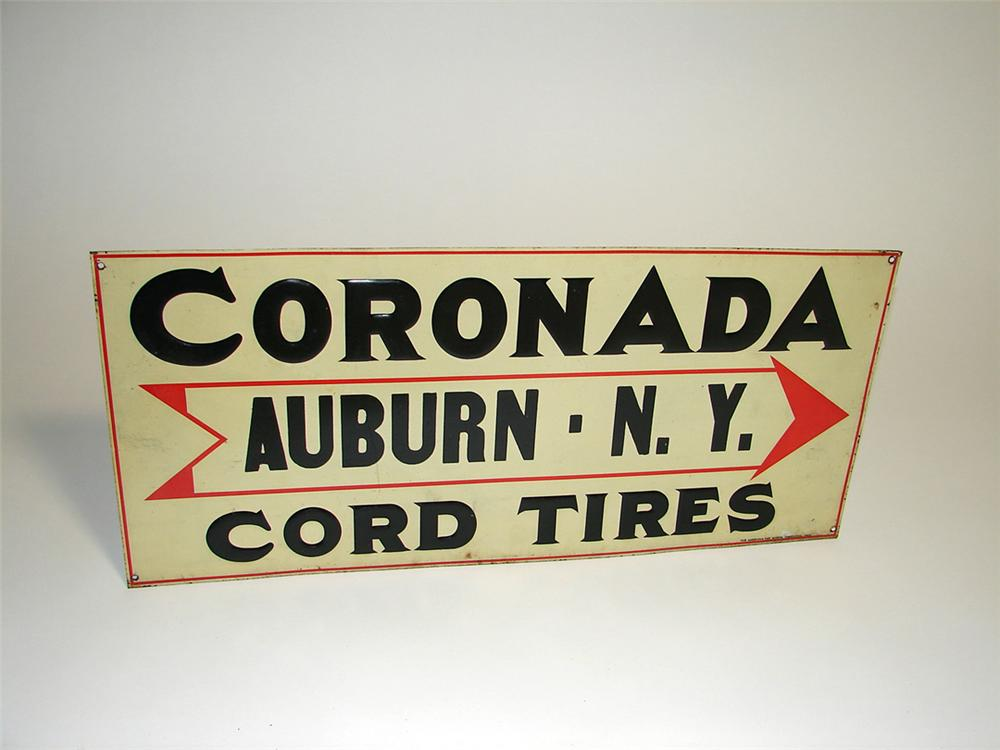 Early 1920s Coronada Cord Tires single-sided tin embossed garage sign. - Front 3/4 - 93720