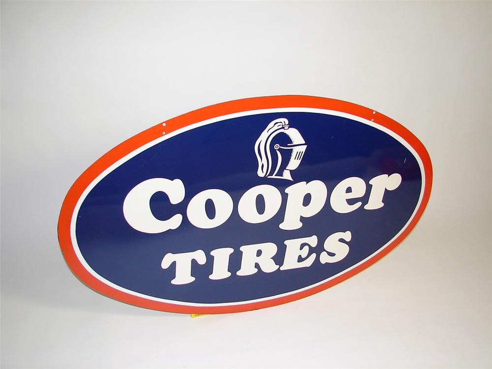 N.O.S. 1950s Cooper Tires double-sided tin garage sign. - Front 3/4 - 93730