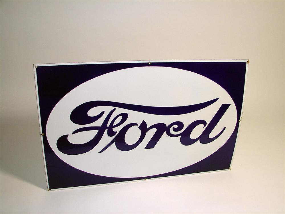Very clean N.O.S. 1930s Ford Automobiles single-sided porcelain dealership sign. - Front 3/4 - 93736