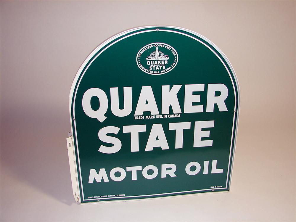 Choice N.O.S. 1960s Quaker State Motor Oil double-sided tin painted flange mount garage sign in original shipping box. - Front 3/4 - 93737