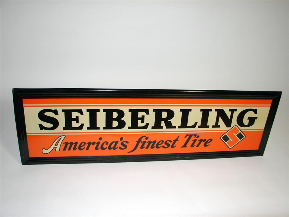 Stylish N.O.S. 1930s Sieberling Tires self-framed tin painted garage sign. - Front 3/4 - 93740
