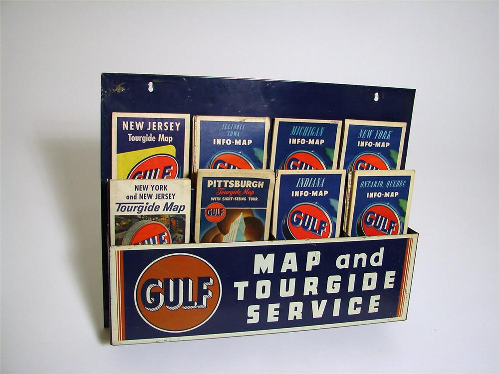 All original 1940s Gulf Road Map and Tour Gide service station metal display complete with original period maps. - Front 3/4 - 93743