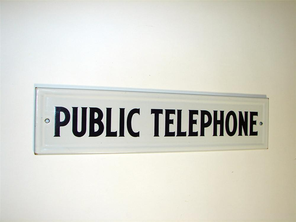 Neat 1930s Public Telephone single-sided porcelain service station sign. - Front 3/4 - 93747