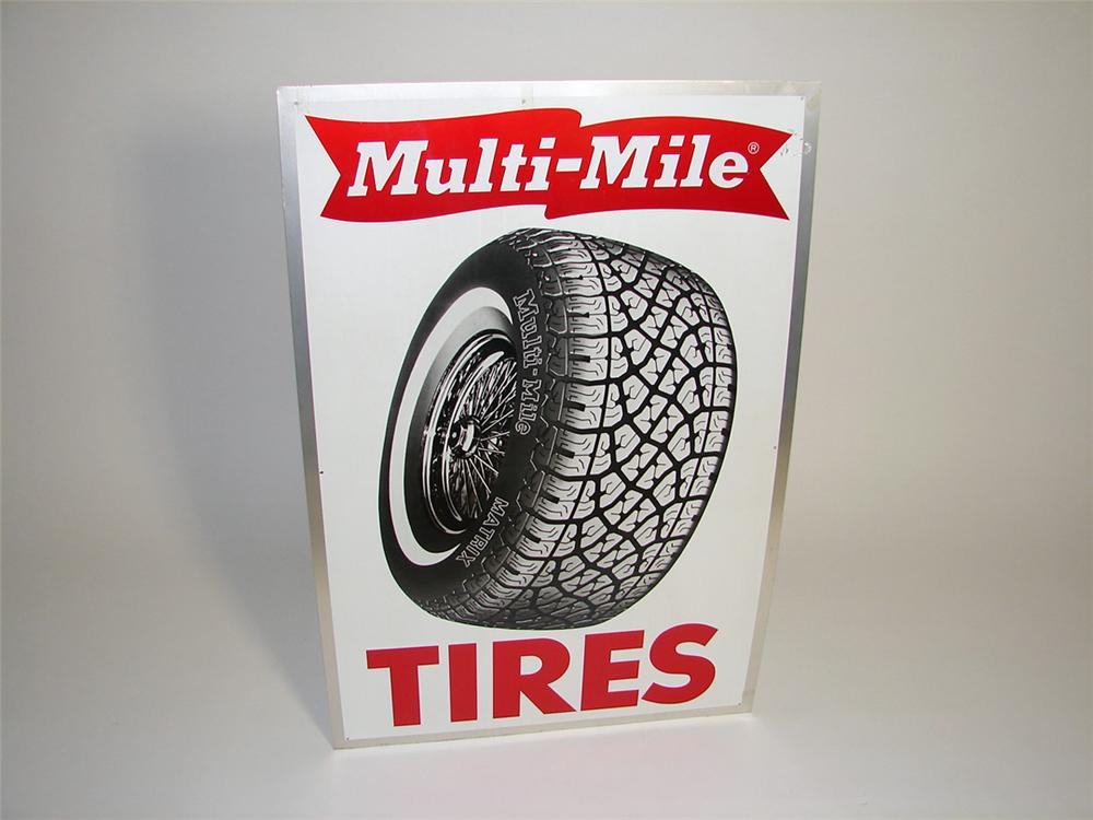 Sharp Multi-Mile Tires single-sided tin garage sign with outstanding tire graphic. - Front 3/4 - 93749