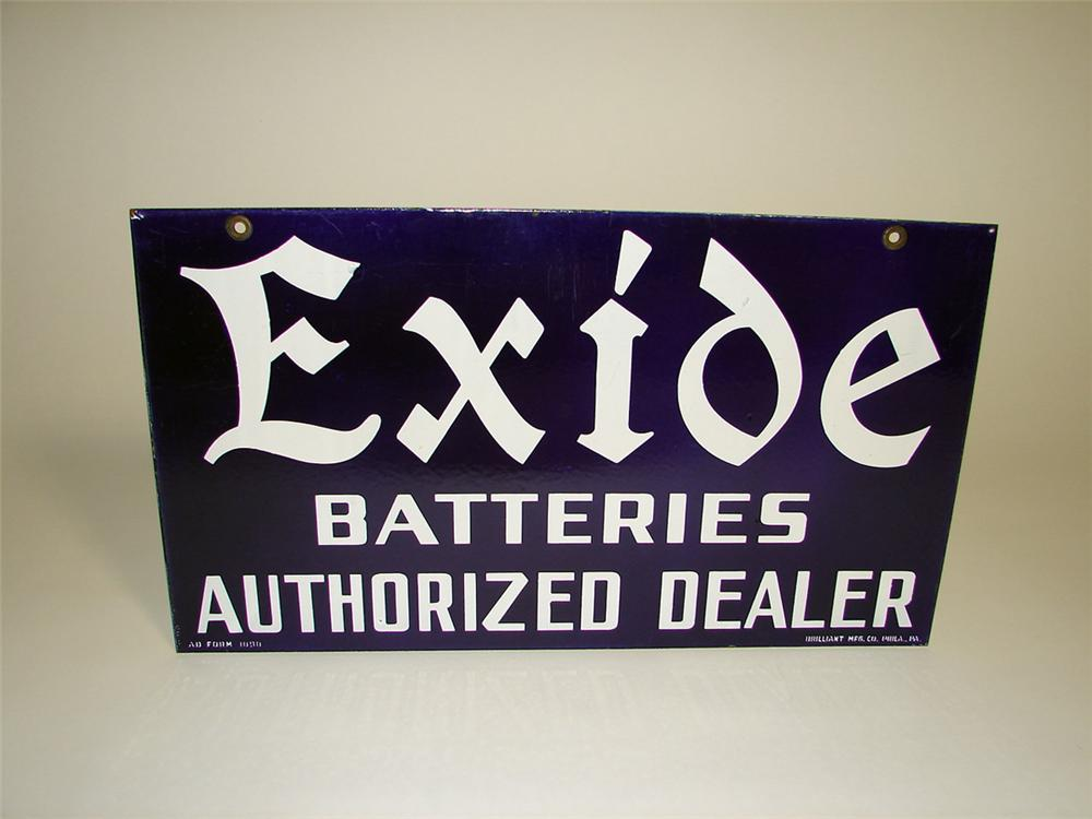 Striking early 1930s Exide Batteries double-sided porcelain garage sign. - Front 3/4 - 93750