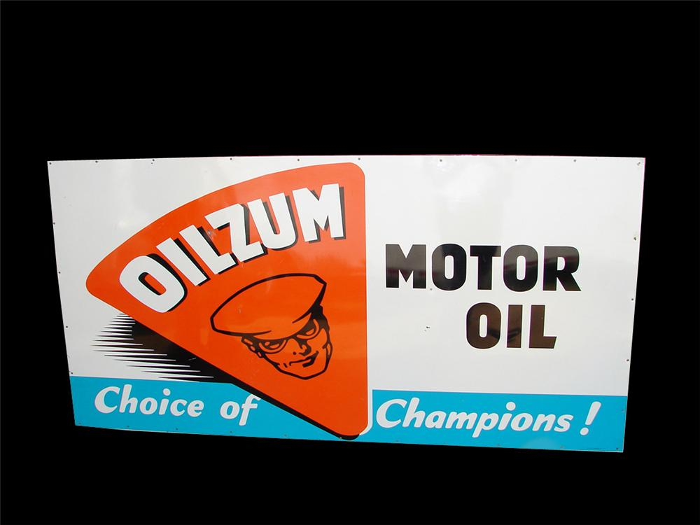 Fabulous 1950s Oilzum Motor Oil single-sided tin wood framed garage sign. - Front 3/4 - 93752