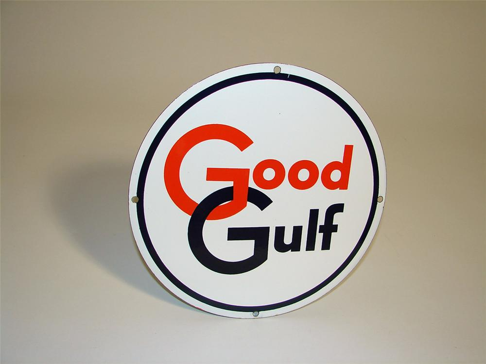 Sharp N.O.S. late 1950s Good Gulf Gasoline porcelain pump plate sign. - Front 3/4 - 93755