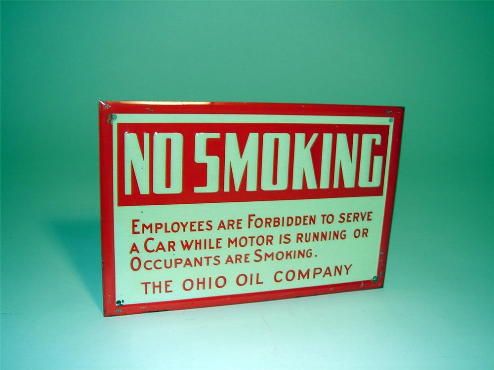 """N.O.S. 1930s Ohio Oil Company """"No Smoking"""" single-sided embossed tin fuel island sign. - Front 3/4 - 93757"""