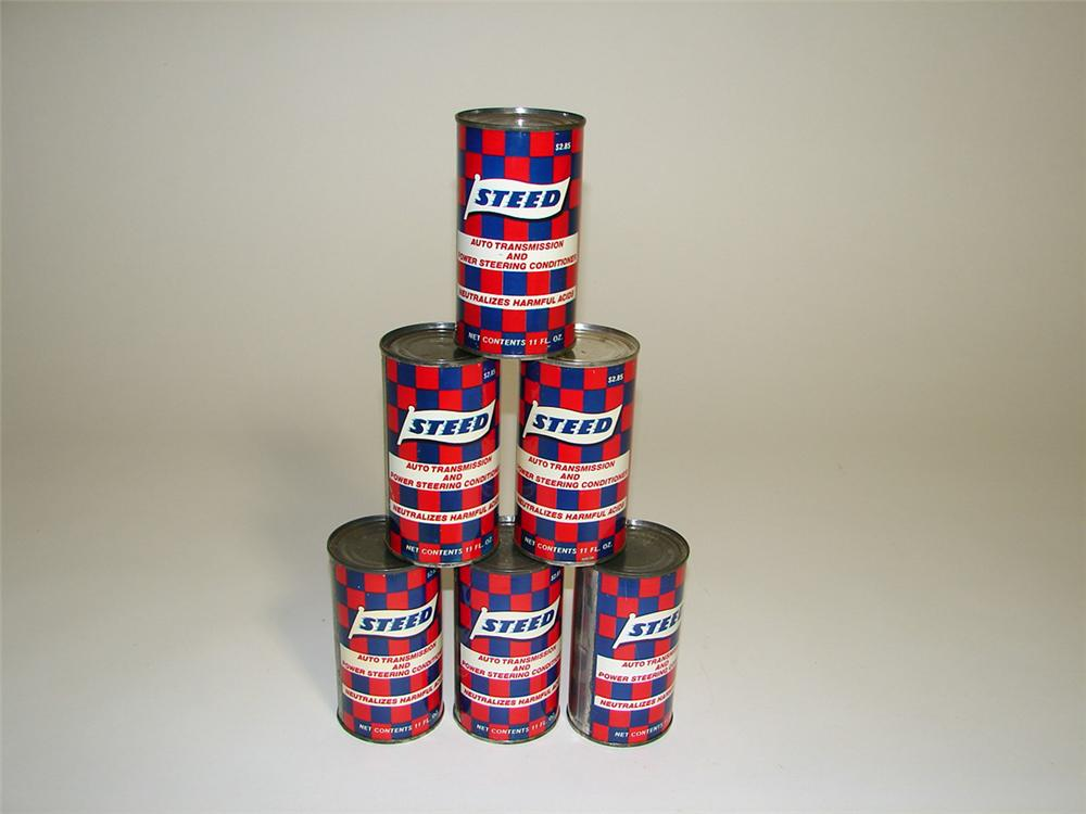 Set of six 1960s N.O.S. Steed Auto Transmission and Power Steering Conditioner 11 ounce tins. - Front 3/4 - 93761