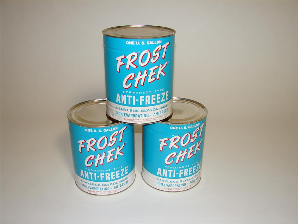 Lot of three 1950s Frost Chek Anti-Freeze one-gallon anti-freeze tins. - Front 3/4 - 93762