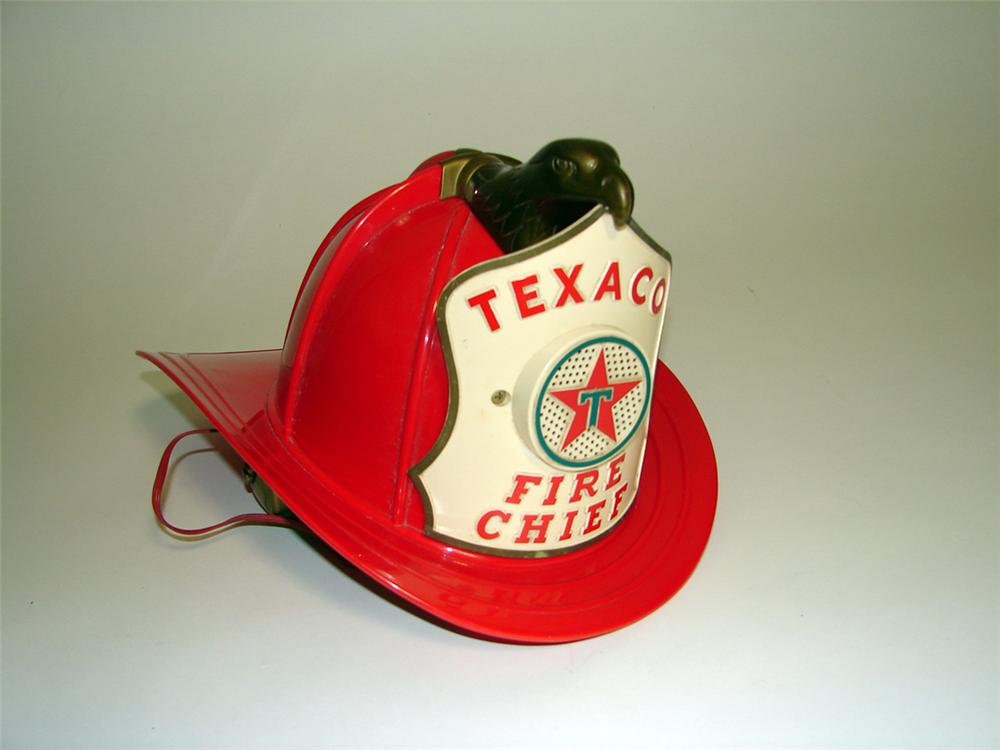 Fantastic 1950s-60s Texaco Fire Chief promotional kids helmet with built in P.A. system. - Front 3/4 - 93763