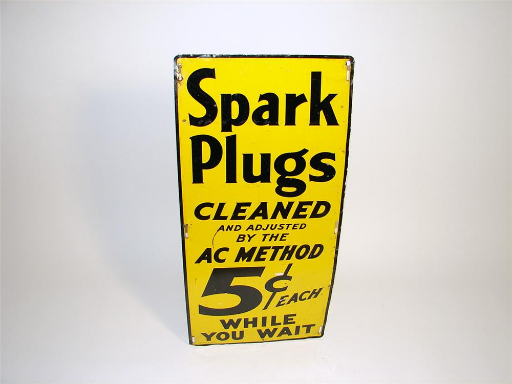"""1937 AC Spark Plugs """"cleaned while you wait"""" single sided tin station sign. - Front 3/4 - 93768"""