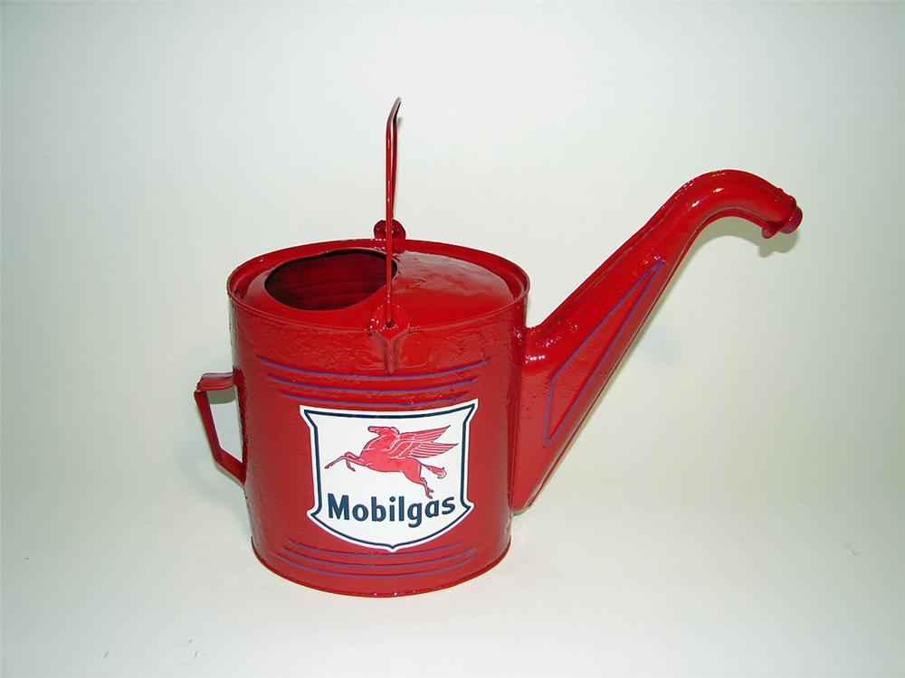 Neat 1920s-30s restored Mobilgas service station radiator water can with art deco lines. - Front 3/4 - 93770