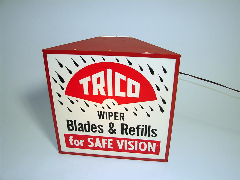 Very clean early 1960s Trico Wiper Blades and Refills light-up garage sign. - Front 3/4 - 93771
