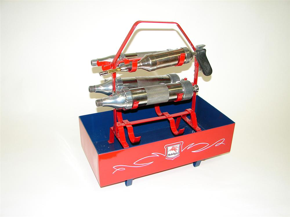 Fantastic 1930s Mobil Oil service department portable lubrication gun rack complete with guns. - Front 3/4 - 93794